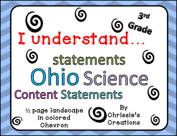 I can statements 3rd grade SCIENCE for OHIO in color chevron