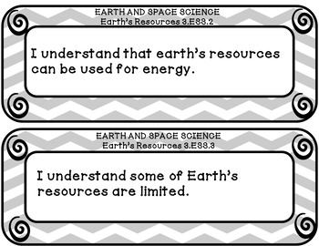 I can statements 3rd grade SCIENCE for OHIO in gray and white chevron
