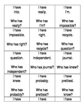 third grade sight words i have who has I-R