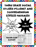 third grade social studies fluency and comprehension leveled passages bundle