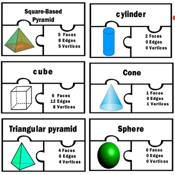 Basic three dimensional shapes Math centers station 3D puzzles 2nd 3rd grade