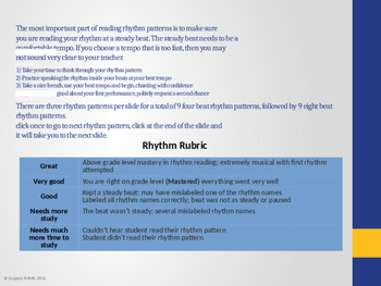ta titi too & (rest) rhythm assessment with Rubric