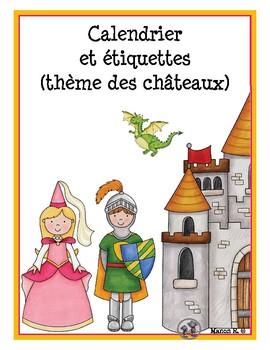 Étiquettes et calendrier princesses et chevaliers