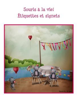 """Étiquettes et signets """"Souris à la vie."""""""