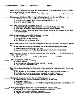 To Kill a Mockingbird Chapters 21-22  Reading Quiz