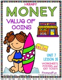 MONEY COUNTING COINS UNIT 7 LESSON 35 WORKSHEETS EXIT TICKET POSTERS iREADY MAFS