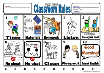top ten classroom rules, code of conduct