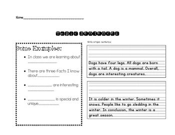 topic sentence writing