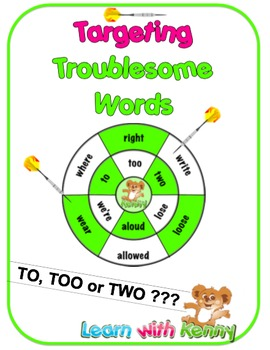 to/too/two - Targeting Troublesome Words Worksheets
