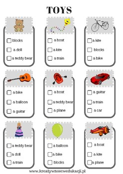 toys- worksheet- choose the correct word