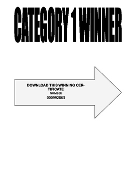 FREE   CATEGORY 1 WINNER . . . DOWNLOAD YOUR WINNING CERTIFICATE NOW
