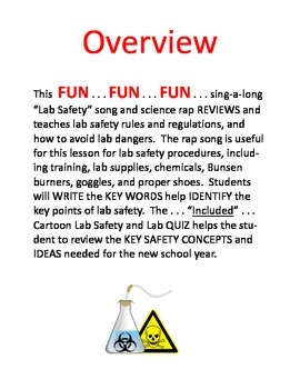 LAB SAFETY RULES RAP   11-PAGES with LAB SAFETY TEST 3-DAY ACTIVITY