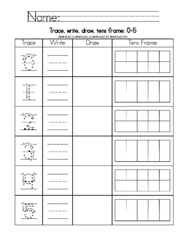 trace write draw tens frame number sense Counting and Cardinality