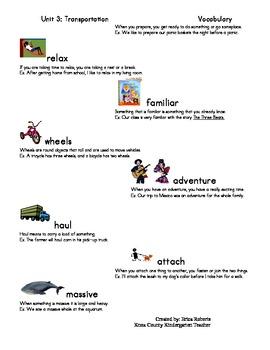 treasures Vocabulary unit three-Transportation