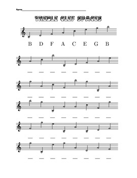 treble clef spaces including ledger lines to low b and up