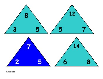 triangle flash cards (color coded)
