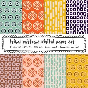 Tribal Patterns Digital Paper Set, Orange, Blue, Pink, Yellow