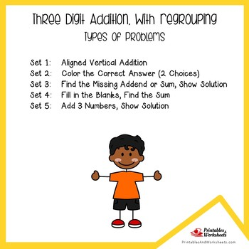 Triple Digit Addition With Regrouping Worksheets, Adding Three Digit Numbers