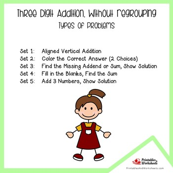 Triple Digit Addition Without Regrouping Worksheets, Adding Practice Sheets
