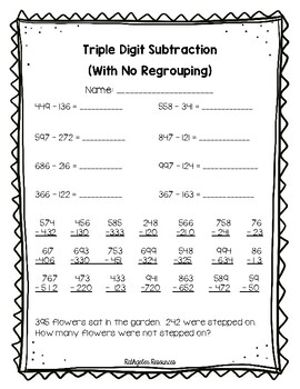 triple digit subtraction with no regrouping assessment