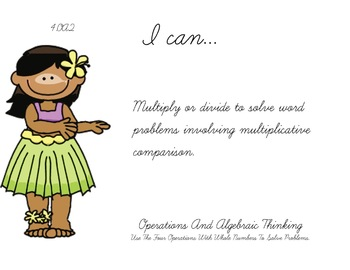 tropical Theme 4th Fourth Common Core Posters Math Mathematics Posters