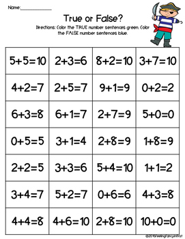 true false addition and subtraction DIFFERENTIATED