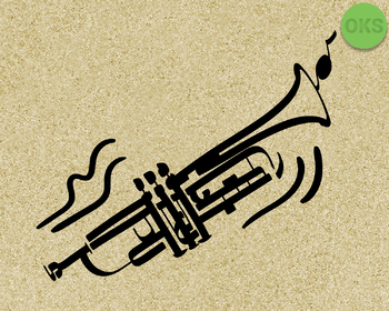 trumpet SVG cut files, DXF, vector EPS cutting file instant download for cricut