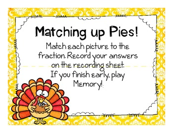turkey pie fraction math center {freebie}