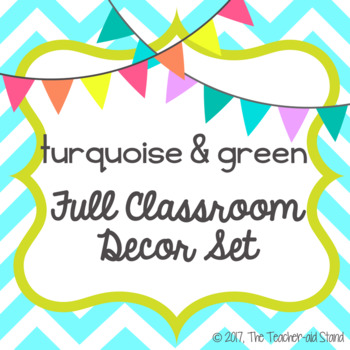 turquoise blue & lime green classroom decor set