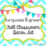 turquoise blue & lime green classroom decor set