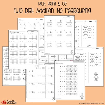 Two Digit Addition No Regrouping Sheets, Adding Double Digits Without Regrouping