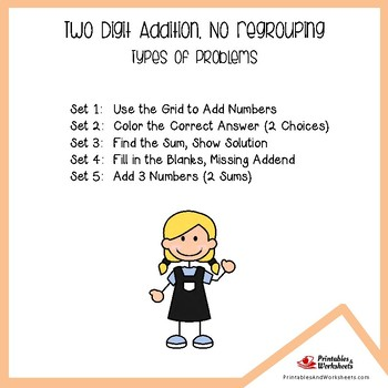 Adding No Regrouping, Two Digit Addition Activities Worksheets