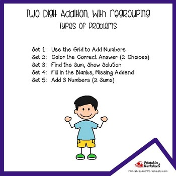 Adding With Regrouping 2 Digit Numbers, Traditional Addition Worksheet