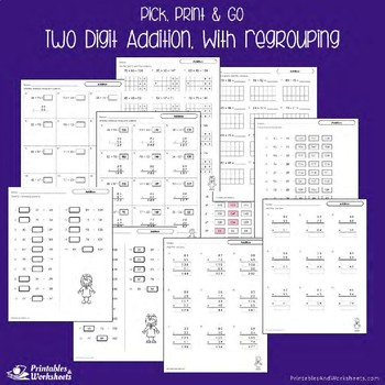 Two Digit Addition With and Without Regrouping Worksheets, Adding Doubles