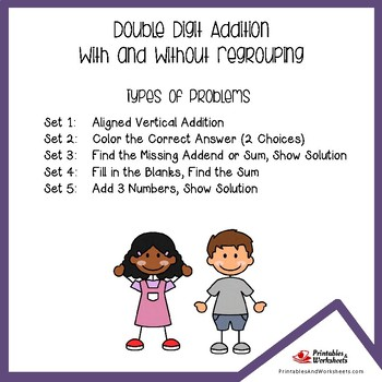 Adding Double Digit Numbers, Two Digit Addition Worksheets With Answer Keys