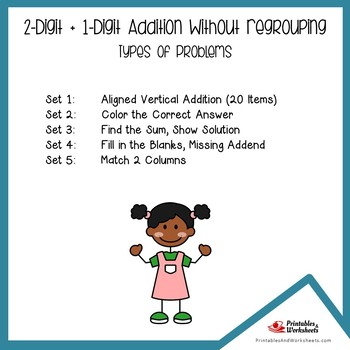 Two Digit Plus One Digit Addition Without Regrouping Worksheets