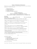 types of sentence structure student packet