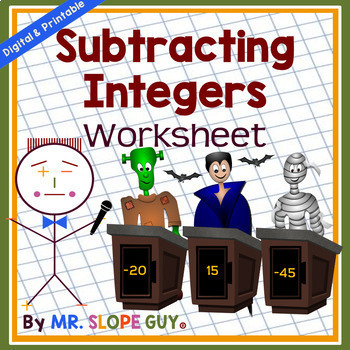 Subtracting Integers Using Rules  PDF Worksheet Go Math 7.NS.A.1