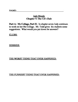 udy Moody Was in a Mood Comprehension and Novel Study Chapters 6-10