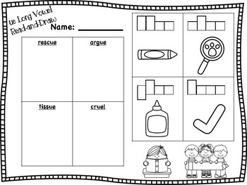 ue Long Vowel Read-and-Draw