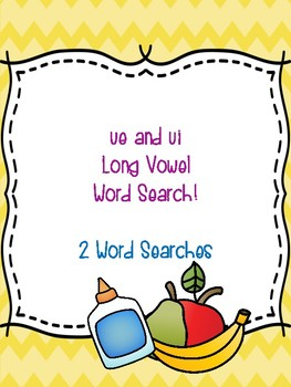 ue and ui Long Vowel Word Searches!