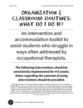 Quick Interventions and Accommodations for Students: Organization and Routines