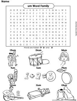 um Word Family Word Search/ Coloring Sheet (Phonics Worksheet)