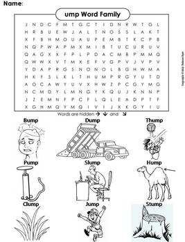 ump Word Family Word Search/ Coloring Sheet (Phonics Worksheet)