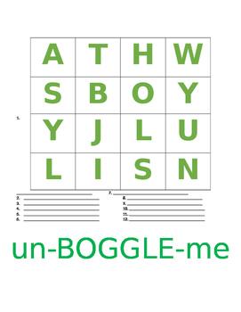 un- BOGGLE - me   (Word Puzzles)  (Dyslexia Resources)