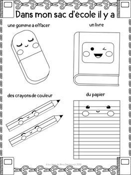 un lexique pour dans mon sac d'école I French back to school vocabulary words