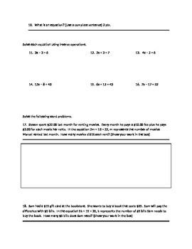 unit test for 6th grade algebra