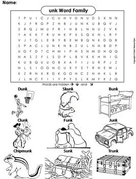 unk Word Family Word Search/ Coloring Sheet (Phonics Worksheet)