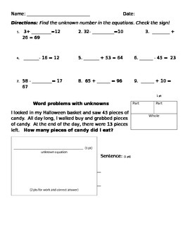 unknown addition and subtraction review