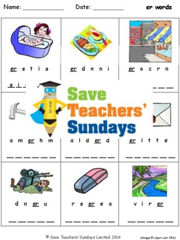 unstressed er phonics lesson plans, worksheets and other teaching resources